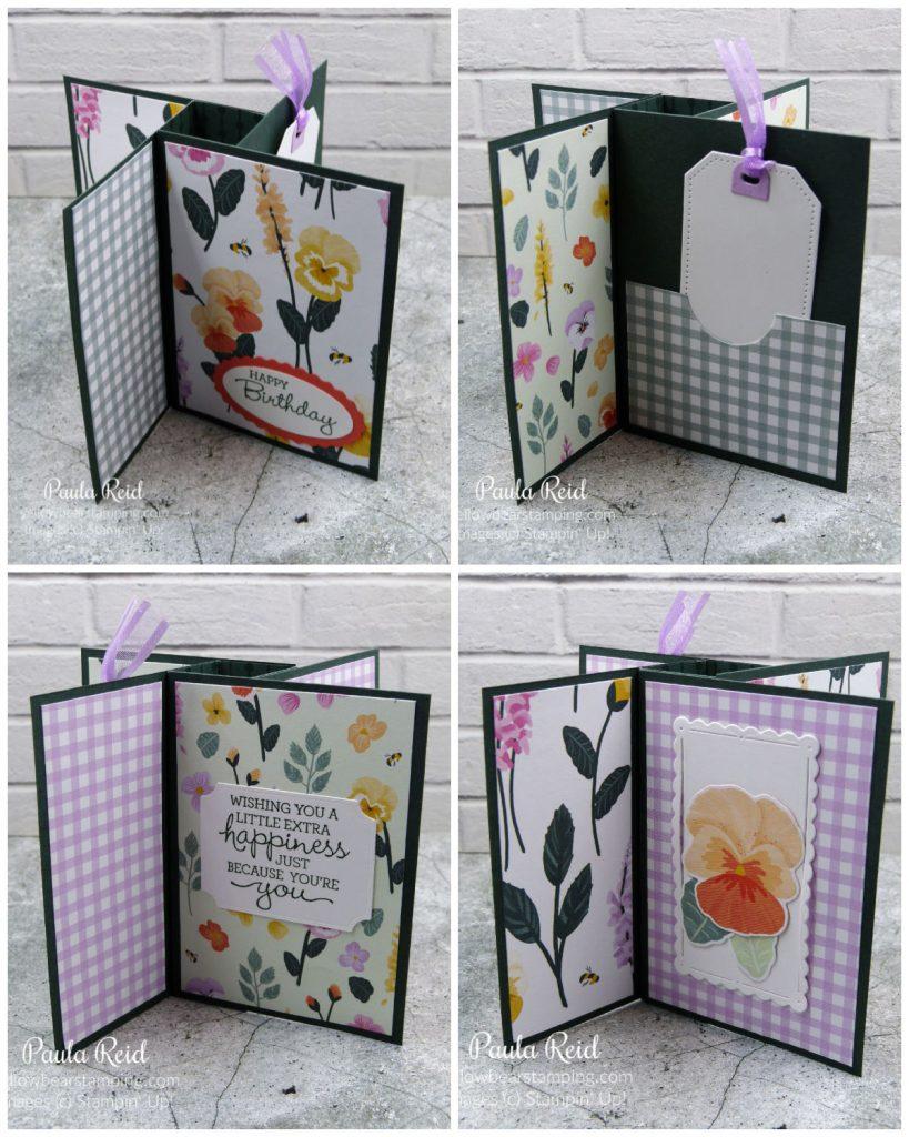 Tower Pinwheel Card - standing - using Pansy Petal Suite