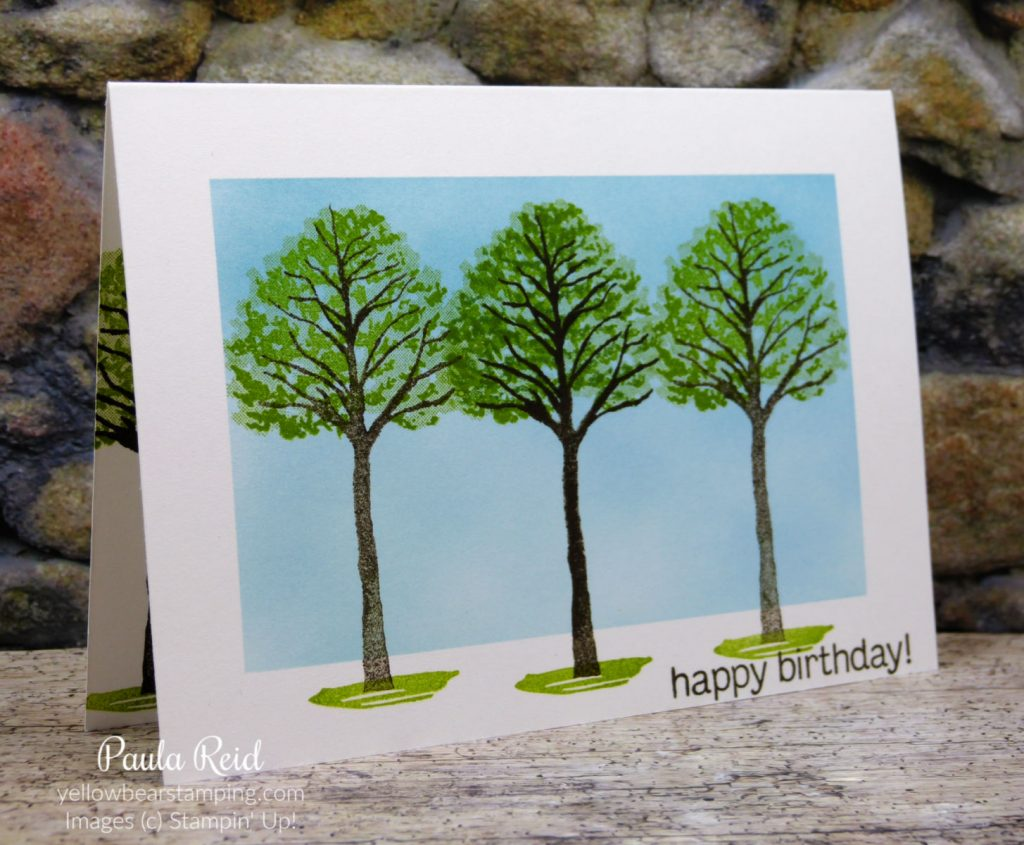 One layer card using only stamps and ink - Beauty of the Earth